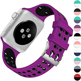 KOLEK Band Compatible with Apple Watch Series 4/3/2/1, Vibrant Durable Waterproof Breathable Silicone Sport Strap for Apple Watch 38mm 40mm 42mm 44mm, Multi Colors Available
