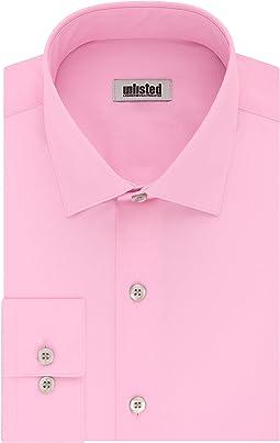Slim Fit Solid Spread Collar Dress Shirt