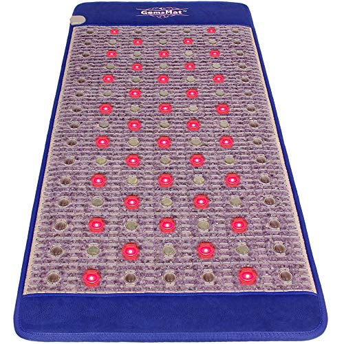 GemsMat - Regis- Far Infrared Amethyst Jade Tourmaline Crystal Heat Stone Mat (71'L x 32'W) - Red Light 36 Photon FIR Therapy -FDA Registered Manufacturer -Adjustable Timer & Temperature - Heating Pad