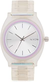 NIXON Time Teller Acetate A327 - Clear/Silver Sunray/Rainbow - 100 Meter / 10 ATM Water Resistant Women's Analog Fashion Watch (40mm Watch Face, 20mm Acetate Band)