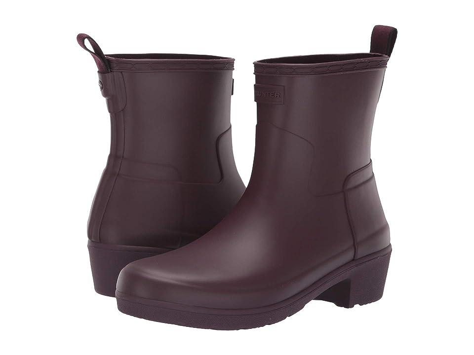Hunter Refined Low Heel Ankle Biker Rain Boots (Oxblood) Women
