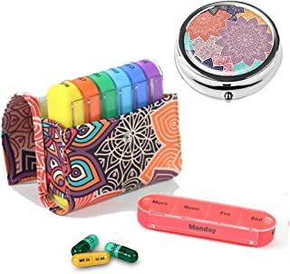 Pill Organizer Pill Box,LIZIMANDU Weekly Travel Pill Case Box Medication Reminder Daily AM PM,Day Night 7 Compartments,for 4 Times A Day,7 Days a Week-Includes Leather PU Carrying(Colorful Flower Set)