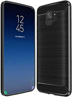Case for Samsung Galaxy S9 Plus S9+ SM-G965 Heavy Duty Brushed Metal Metallic Finish TPU Skin Case with Shockproof Impact Resistant Drop Protection (Carbon Fiber Black)