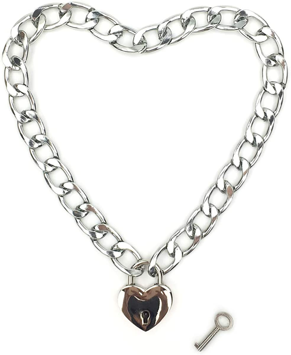 Intimate Lover Heart Chain Necklace Collar Heart Padlock Choker for Men, Women and Pet
