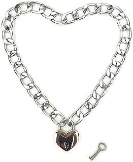 Heart Chain Necklace Collar Heart Padlock Choker for Men, Women and Pet