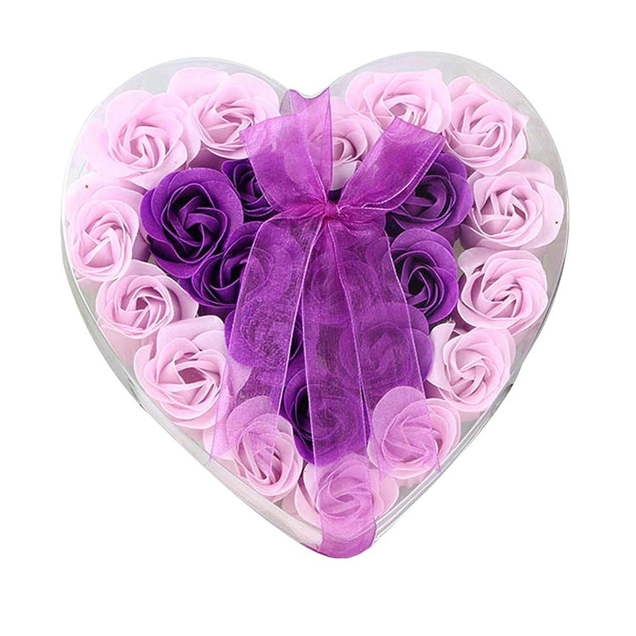 非武装化本質的ではない登録24個の手作りのローズ香りのバスソープの花びら香りのバスソープは、ギフトボックスの花びらをバラ (色 : 紫の)