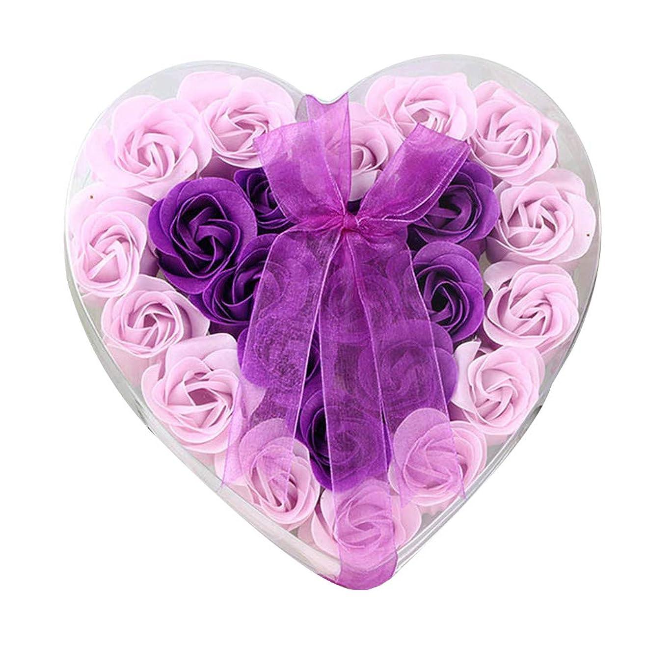 スクリュー乱れ狂った24個の手作りのローズ香りのバスソープの花びら香りのバスソープは、ギフトボックスの花びらをバラ (色 : 紫の)