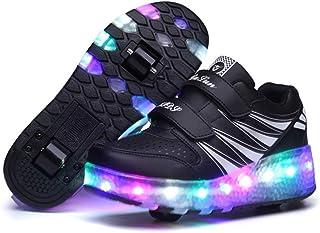 Niños y niñas Zapatillas Luminosas LED Cuatro Estaciones Patines universales cómodos Zapatos Casuales de Cuero Patines