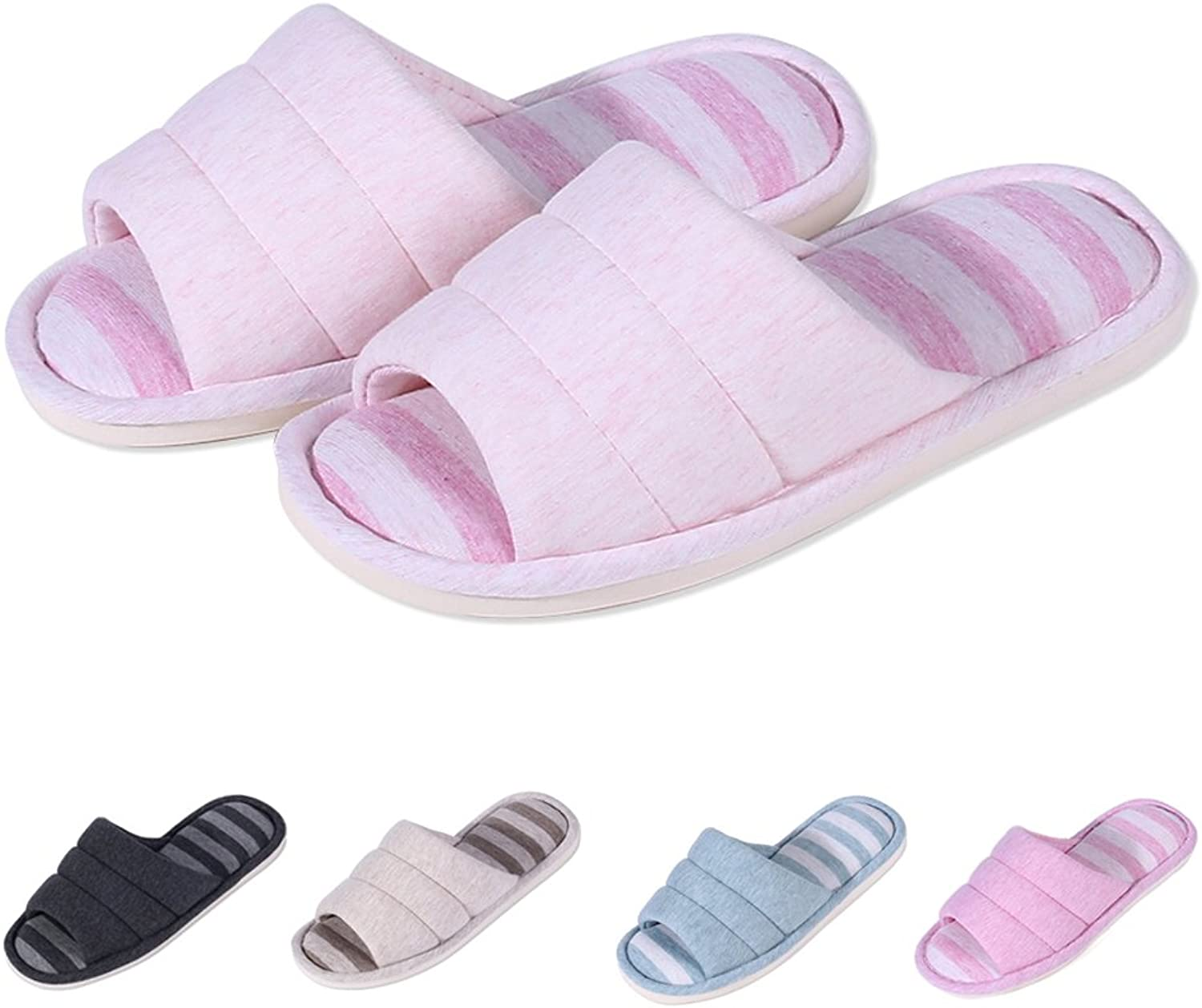 Shevalues Women's Soft Indoor Slippers Open Toe Cotton Memory Foam Slip on Home shoes House Slippers LP-S Light Pink