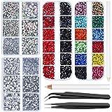 8836 piezas de diamantes de imitación multicolor Hotfix set de aplicador, incluye 4 cajas de 7 tamaños de piedra de cristal transparente y transparente AB con pinzas y bolígrafo para picking