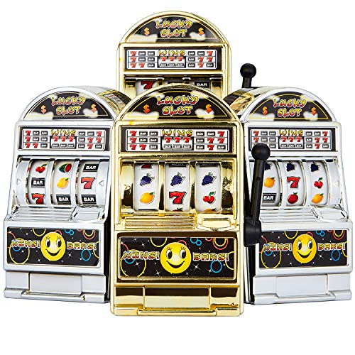 4 Pieces Mini Slot Machine Toy Lucky Slot Machine Bank with Spinning Reels, Golden and Silver