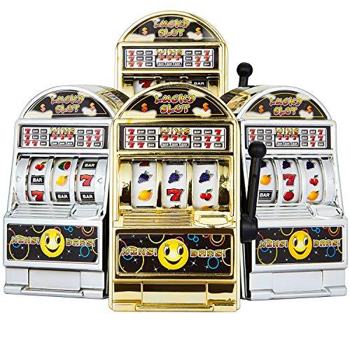 Gejoy 4 Piezas de Mini Juguete de Tragamonedas Máquina Tragaperras de Suerte Banco con Carretes Giratorios, Dorado y Plateado