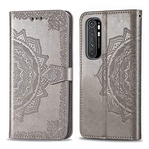 Bear Village Hülle für Xiaomi MI Note 10 Lite, PU Lederhülle Handyhülle für Xiaomi MI Note 10 Lite, Brieftasche Kratzfestes Magnet Handytasche mit Kartenfach, Grau