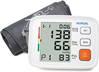 Upper Arm Blood Pressure Monitor Cuff 8.7''-16.5'' by NURSAL,Digital Automatic High Blood Pressure Machine Kit with WHO Indicator,Portable Bag,2 Users 180 Reading Memories