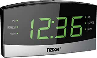 Naxa NRC-181 Bluetooth Easy-Read Dual-Alarm Clock with Daily Repeat