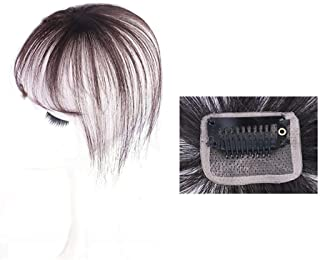 Human Hair Bangs with Top Piece Clip in Seamless Topper&Fringe Extension Hand Made Dark Brown