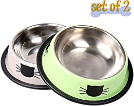 Vonsely Stainless Steel Cat Bowls with Rubber Base, Durable Raised Bowls for Small Pets, Cat Pattern Food and Water Dish
