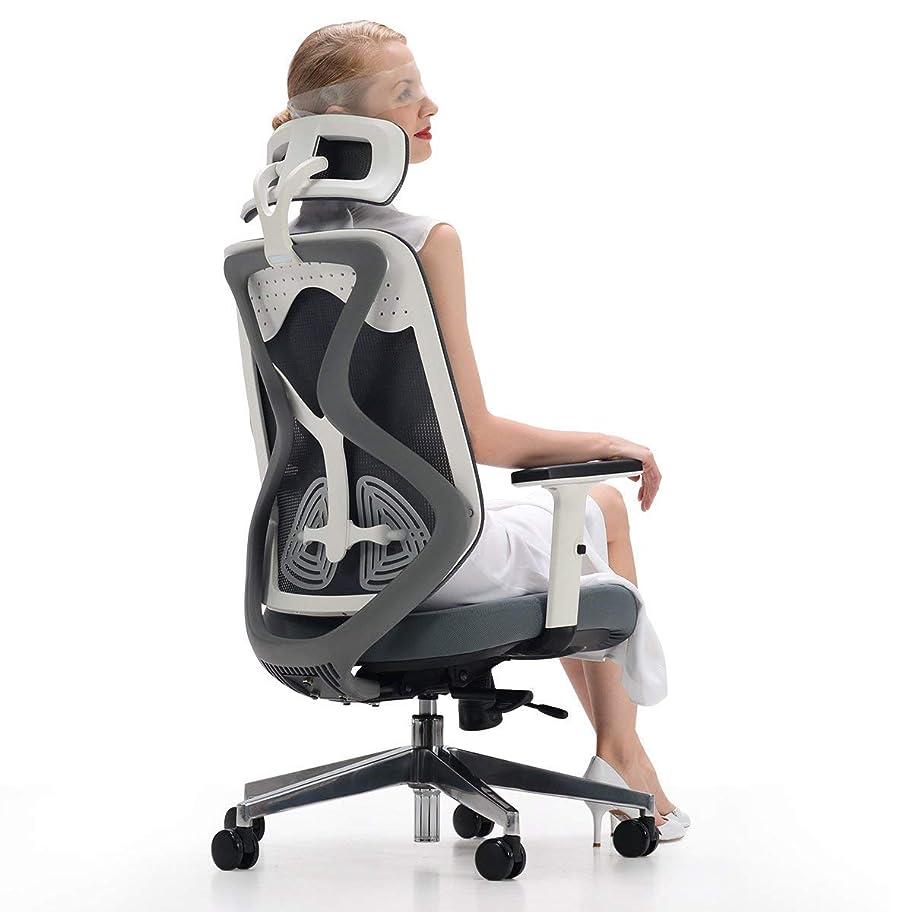 統治する使い込む状Hbada 人間工学 オフィスチェア デスクチェア - ハイバック メッシュ 昇降アームレスト 可動式ヘッドレスト 腰痛 ランバーサポート 約125度ロッキング 通気性 アルミ合金製ベース