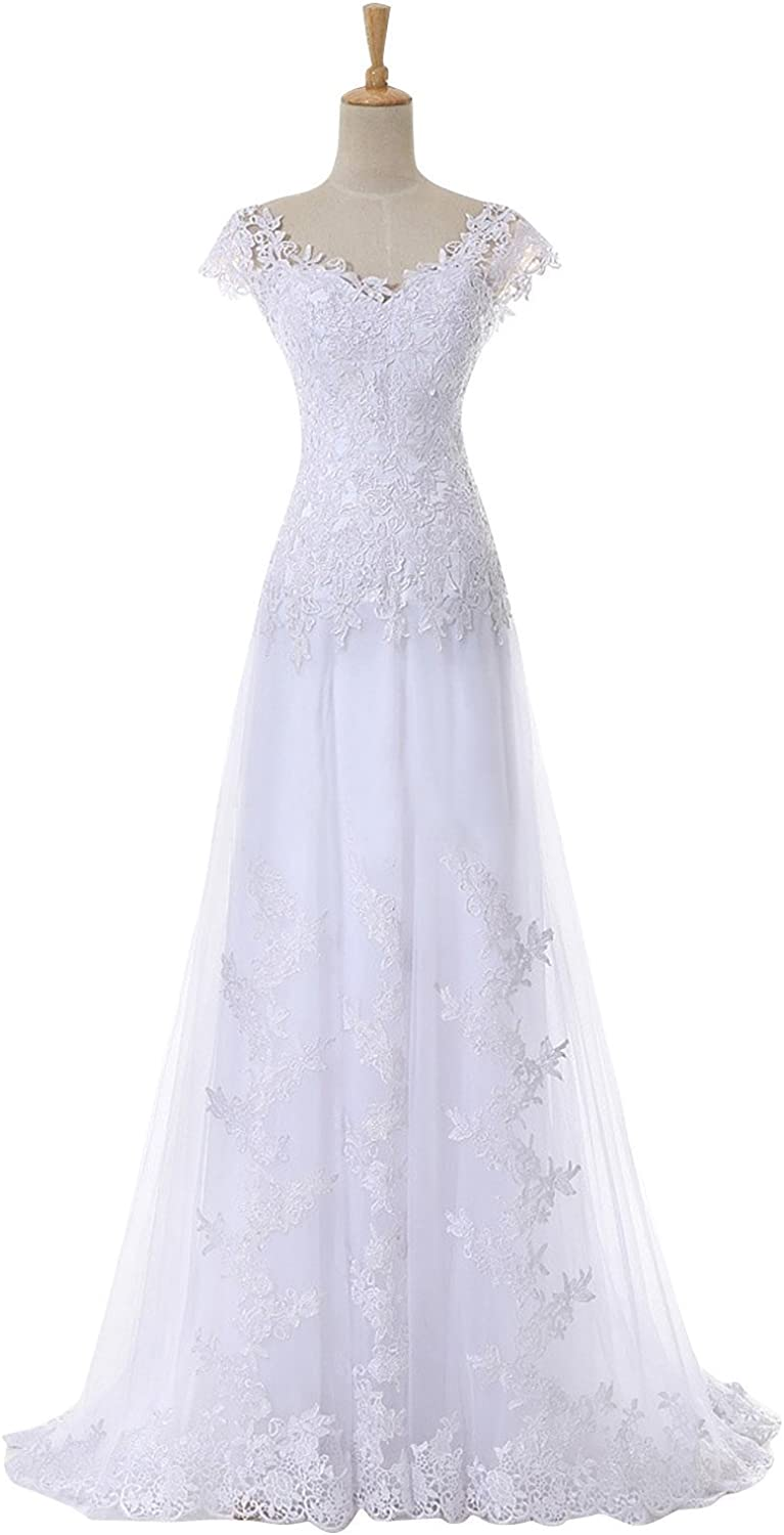 DINGZAN Lace Beach Wedding Dresses Bridal Reception Gowns with Cap Sleeves