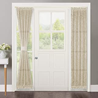 NICETOWN French Door Panel Curtains Privacy - Translucent Sheer Door Curtain Panels 72 inches Length Linen Look Textured French Door Curtains (2 Panels, Beige, 2 PCs Tiebacks Included)
