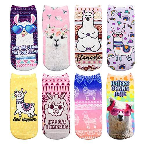 CHIC DIARY Bunte Sneaker Socken Alpaka Muster Mädchensocken mit Süßes Tier Motiv aus Polyester für Mädchen Kinder, 8 Paar, Einheitsgröße