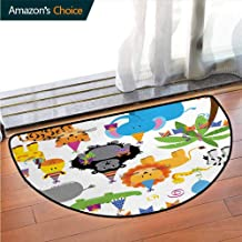 DESPKONMATS Kids Birthday Bathroom Semi-Circular Carpet, Jungle Wild Safari Animals in Cartoon Pattern with Party Hats Flags Image Printed Door Mat Latest Technology Rug W35.5 x R19.7 Inch Multicolor