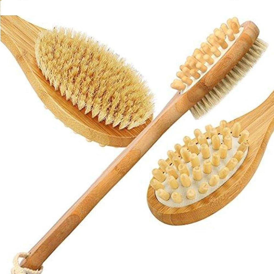 空虚農場ニュージーランド2 in 1 Body Brush for Dry Skin Brushing Back Scrubber Dead Skin Remover Exfoliating Cellulite Bamboo Bath Brush with Long Handle ドライスキンブラッシングのためのボディブラシバックスクラバースキンエクスフォリエイティングセルライトロングハンドルのブラシ