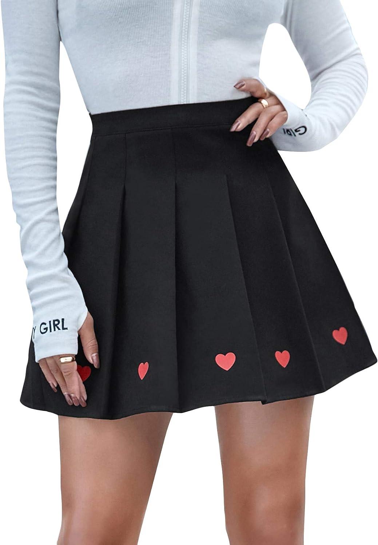 WDIRARA Women's Pleated Heart Print High Waist Casual Skater Mini Skirt