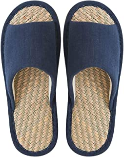 BBJOZ Indoor Slippers Home Cotton and Linen Slippers Non-Slip Slippers Four Seasons Home Shoes Bamboo Soles Sweat-Absorbent Breathable Cool (Color : Blue, Size : 40-41)
