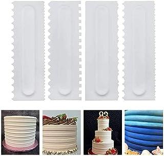 Buttercream Spatula Set Plastic Cake Scraper Pastry Dough Fondant Cream Cake Edge Side Decorating Comb and Icing Smoother ...
