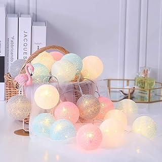 Guirlande Lumineuse Intérieur, Boule Lumineuse Décoration Maison Lumineuse Chambre (20 Boules de 60 mm, Rose Macaron) Pile...