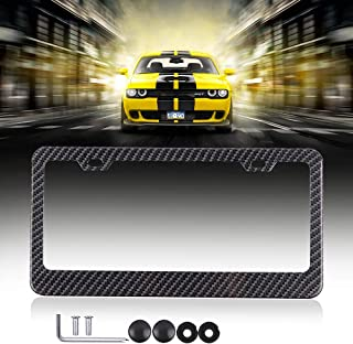 License Plates Frames Car Licenses Plate Covers Aluminum with Screw Caps 1 Pcs 2 Holes Black Powder Coated Plate Cover Frame Shield Combo