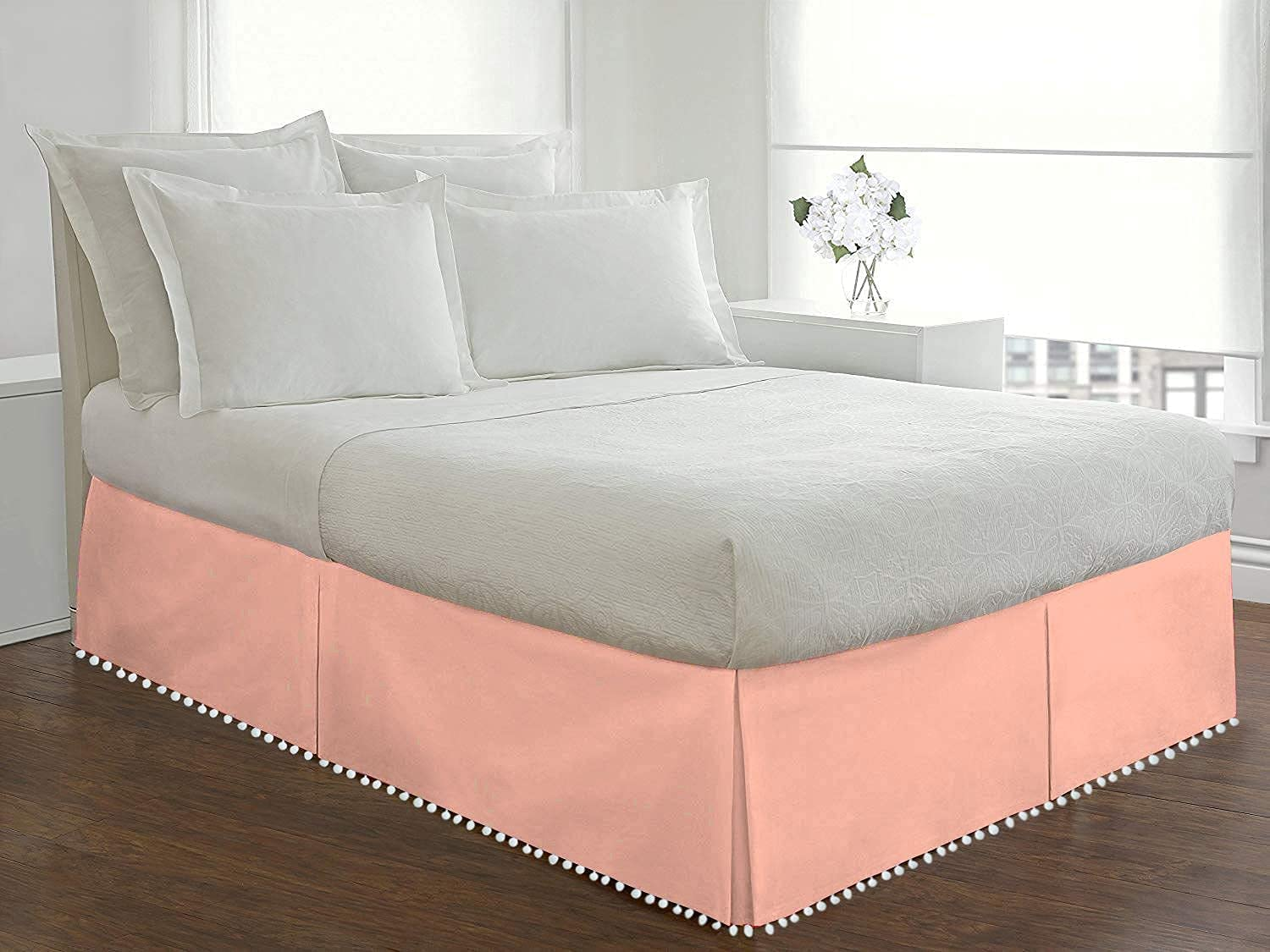 Max 62% OFF Kotton King Tampa Mall Pom Tailored BedSkirt 100% Egyptian T 800 Cotton