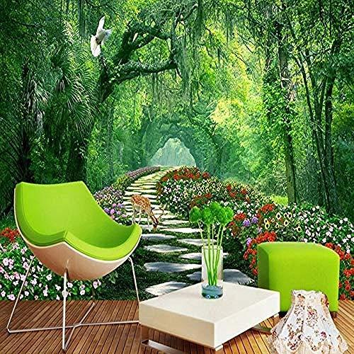 Mural The Wallpaper Wall 3D Forest Landscape Green Path Murales personalizados Papel tapiz Sala Pared Pintado Papel tapiz 3D Decoración dormitorio Fotomural sala sofá pared mural-350cm×256cm