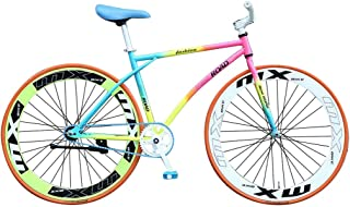 Ninasill 26 Inch Rainbow Road Bike City Commuter Bicycle with Single-Speeds Drivetrain,Non Brake, Adult Mens/Womens Aluminum Frame Full Suspension Road Bike,US Stock