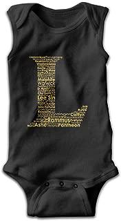 Babys Classic Comfortable Sleeveless Bodysuit Onesies Print League of Legends L Logo Jumpsuit Outfits