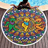 Grate-Ful Dead Dancing Bears Large Round Beach Bath Towels...
