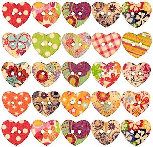 Sewing Wooden Buttons Heart Pattern with Colorful Style Pattern Round Craft Cute Button for product image