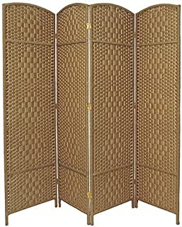 RHF 6 ft. Tall-Extra Wide-Diamond Weave Fiber Room Divider,Double Hinged,4 Panel Room Divider/Screen, Room Dividers and Folding Privacy Screens 4 Panel, Freestanding Room Dividers-Natural, 4 Panel