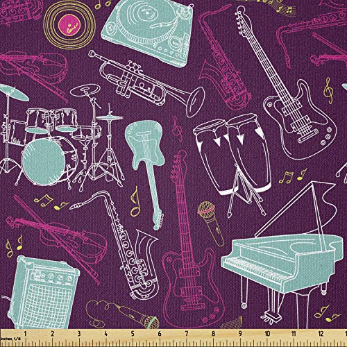 Lunarable Jazz Fabric by The Yard, Hand Drawn Percussion Drums Grand Piano Violin and Microphones, Stretch Knit Fabric for Clothing Sewing and Arts Crafts, 1 Yard, Blue Pink