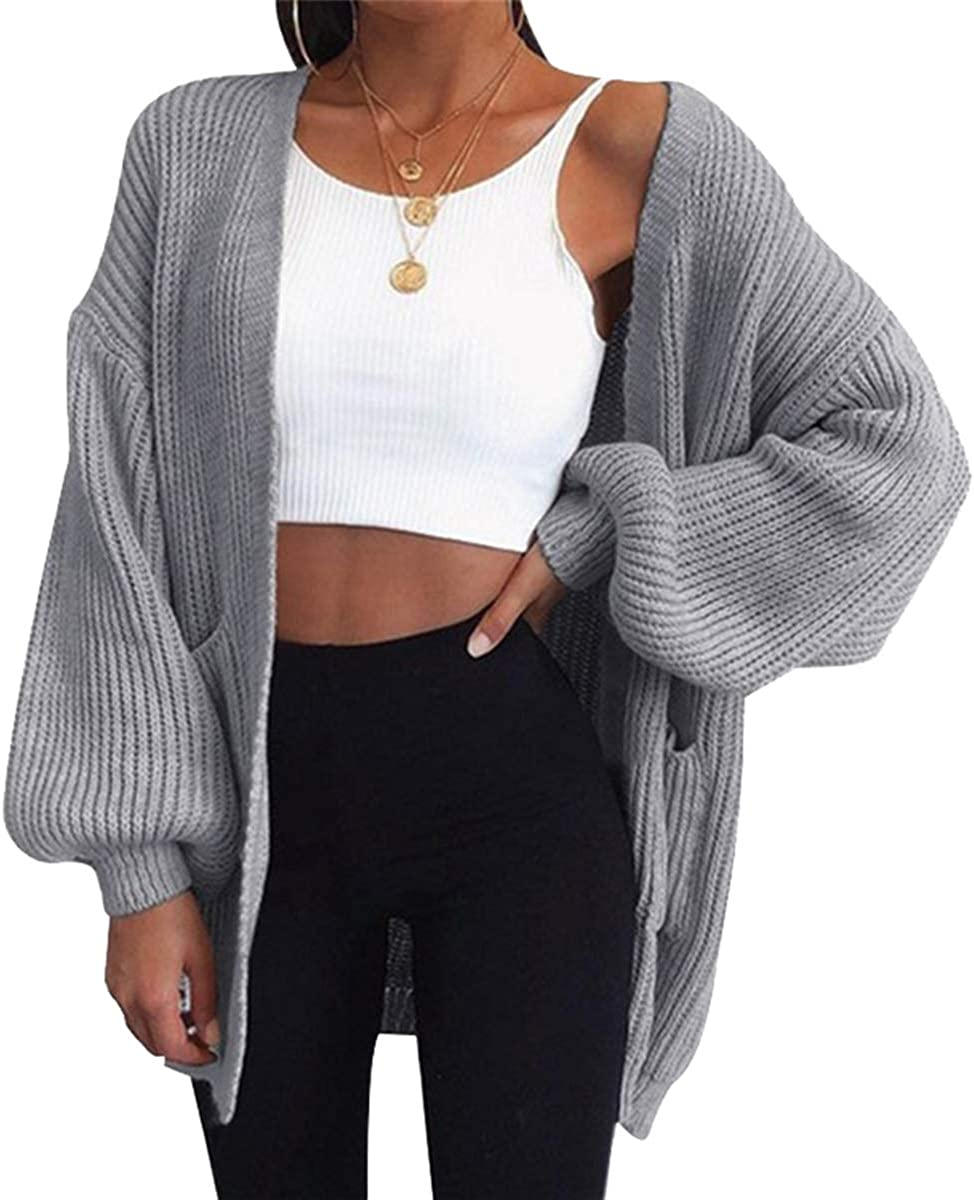 DAIMIDY Women's Open Front Knitted Tunic Cardigan Sweaters with Pockets