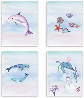 Ocean Theme Wall Poster Fish Art Print Dolphin Painting Shell Artwork Picture Whale Painting Set of 4 Unframed 8x10 Inch