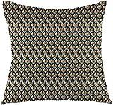 Funda de algodón estampado tradicional japonés, diseño de pájaros orientales, color azul, gris, arena, marrón, cacao, estampado cuadrado, 45,7 x 45,7 cm
