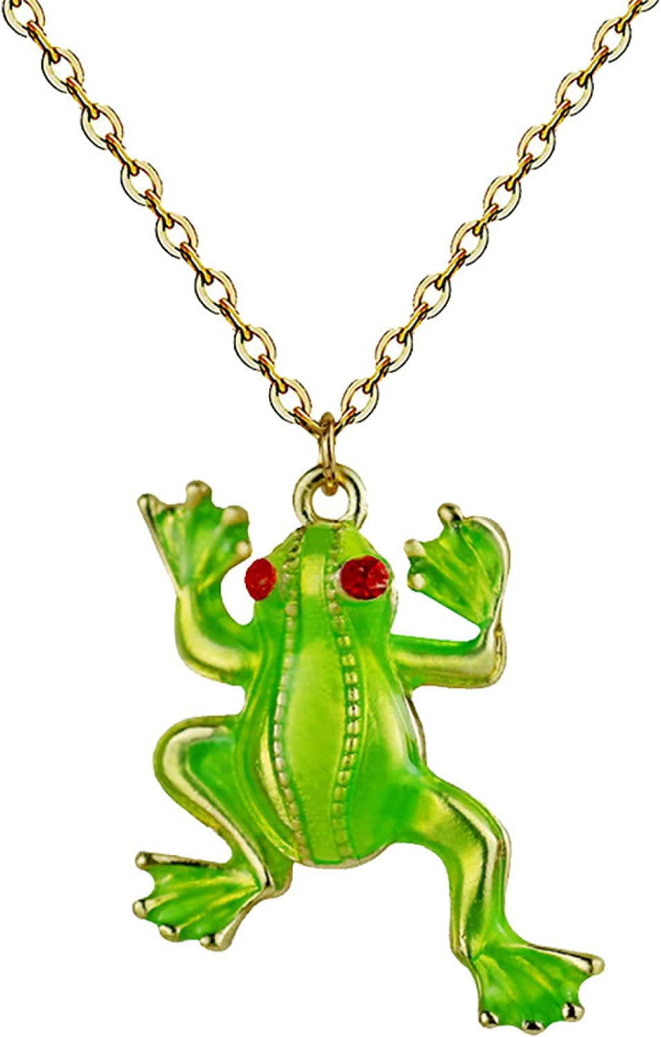 Cartoon Frog Pendant Dangle Enamel Clavicle Chain Necklace Jewelry Gift for Women Girls Teens