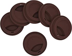 Silicone Drinking Lid Spill-Proof Cup Lids Reusable Coffee Mug Lids Coffee Cup Covers 6 Pcs - Coffee