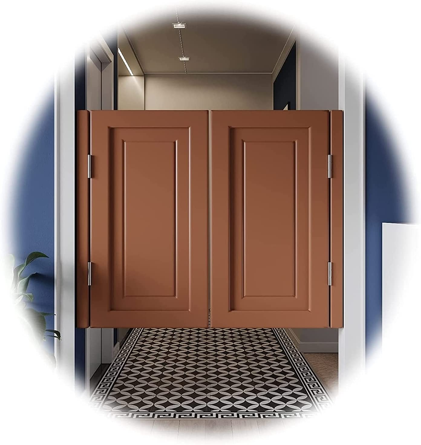 Puertas de café de balanceo, puerta de la cocina de la cocina de la cocina, la puerta de la cintura media de la madera maciza mediterránea, la división de la puerta de la decoración de la pata de jard