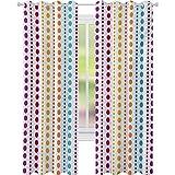 Cortinas opacas para dormitorio, diseño de rayas retro con lunares grandes, colores vibrantes simétricos, 52 x 84, para habitación de bebé, multicolor
