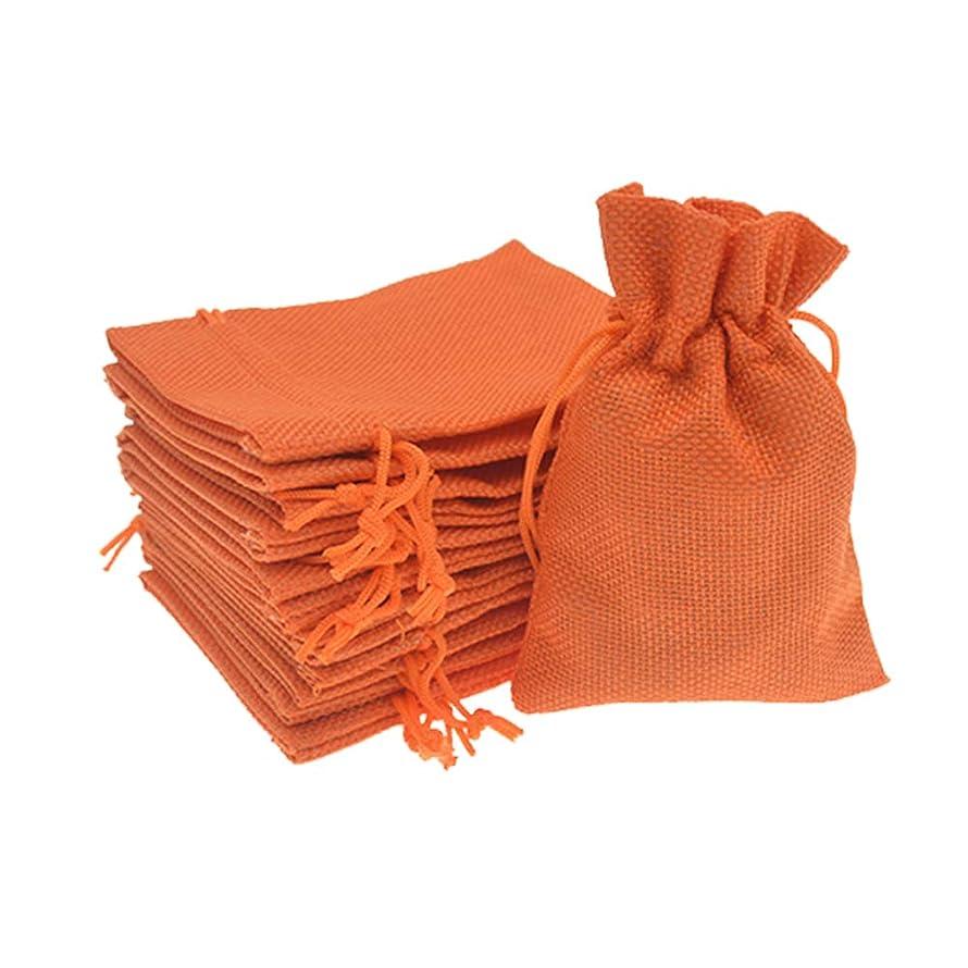 Bezall 50pcs Drawstring Burlap Jute Sacks Jewelry Candy Pouch Christmas Wedding Party Favor Gift Bags (Orange, 5.9 x 7.5)