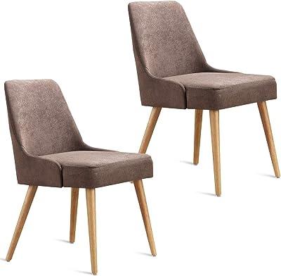 Amazon.com: HOMECHO - Juego de 4 sillas de comedor de tela ...