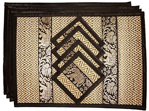 CCcollections Tischset und Untersetzer 4 Packs 2 Größen natürliche handgefertigte natürlichen Reed Korbgeflecht mit Plüsch Seide Ordnung Öko-Handwerk (Mittel schwarz)